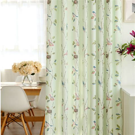 bird drapes fresh light green bird leaf kids polyester nursery curtains