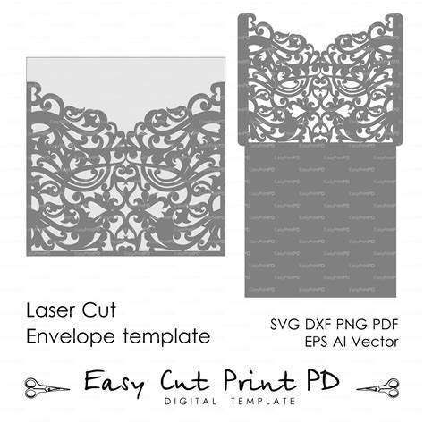 dxf templates scroll wedding envelope pattern template swirl cutting