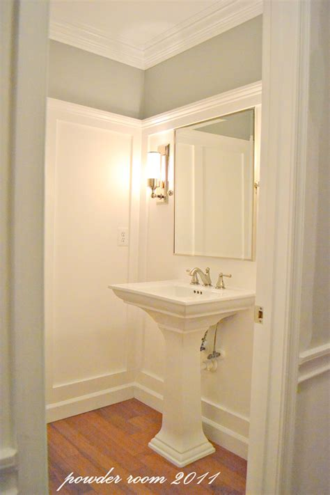 Molding Bathroom by Remodelaholic Powder Room Transformed With Molding On Walls