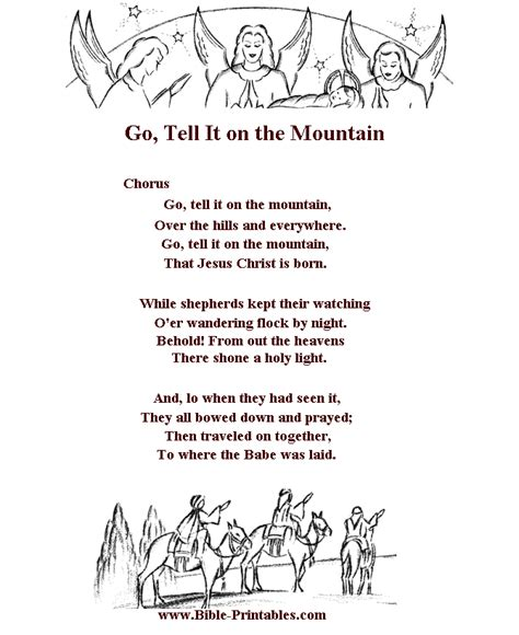 the song testo children s song lyrics go tell it on the mountain
