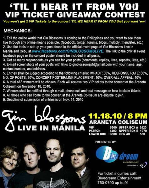 Tickets Giveaway - gin blossoms live vip ticket giveaway contest philippine contests and promos