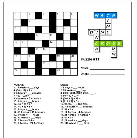 printable algebra puzzle free math crosswords printable teaching upper