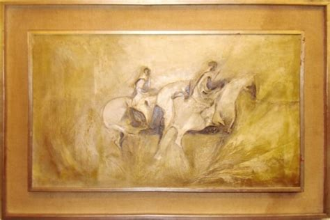 mid century modern abstract painting  horses  riders