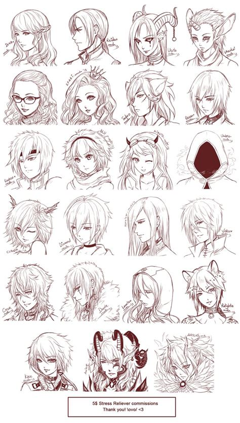 hairstyles for anime characters inspiration hair expressions manga art drawing