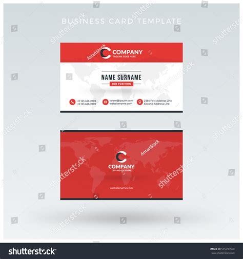 sided business card template microsoft powerpoint doublesided business card template vector stock vector