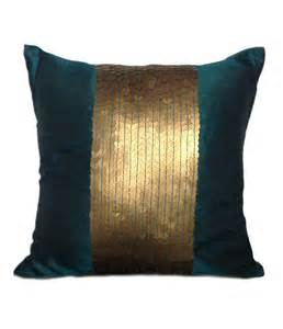 teal decorative pillow cover teal gold sequin pillow