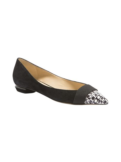 black flat pointed toe shoes nicholas kirkwood striped pointed toe flat in black lyst