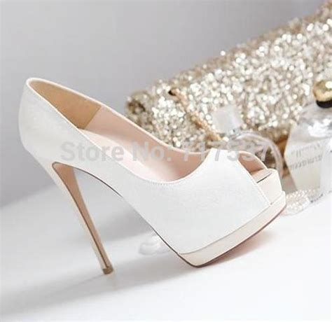 white gold glitter wedding shoes bridal pumps peep toe
