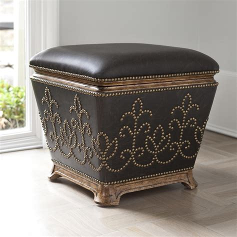20 inch tall ottoman studded antique brass leather ottoman stool 20 x 19