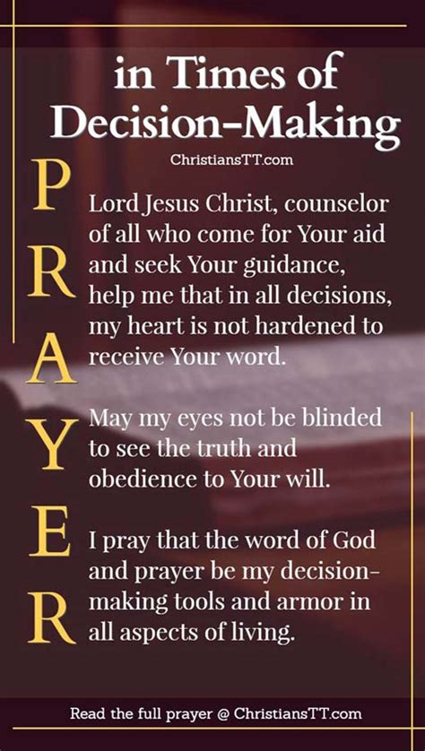 a prayer in times of decision