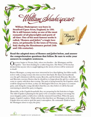 Romeo And Juliet Worksheets by Romeo And Juliet For Worksheet Education
