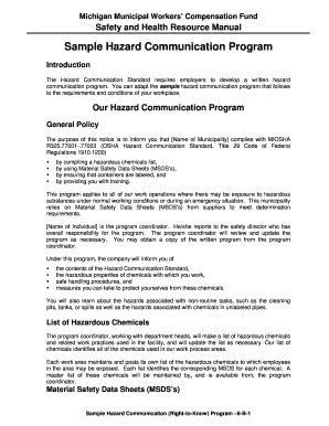 Brochure Exles Forms And Templates Fillable Printable Sles For Pdf Word Pdffiller Hazard Communication Program Template