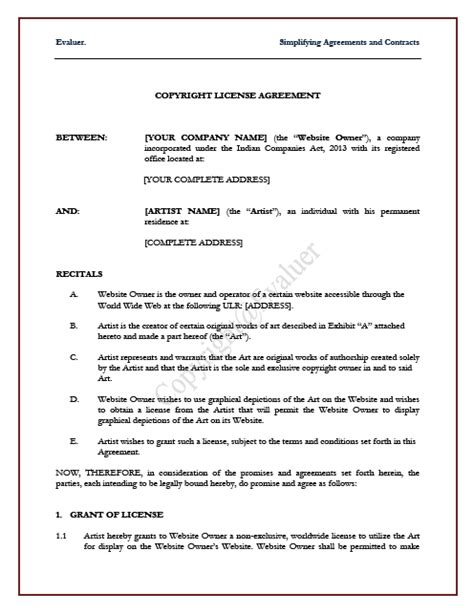 copyright contract template 28 images 10 best images