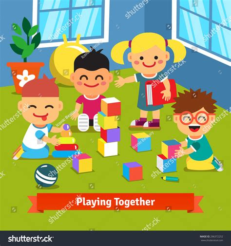 Kids Playroom by Kids Playing Bricks Toys Together Kindergarten Stock
