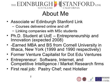 Mba Ph D Stanford by Barc Scotland Edinburgh Stanford Link Entrepreneurship