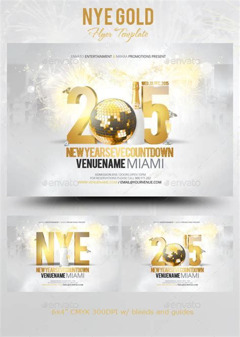 Nye New Years Eve Gold Flyer Template By Mrkra Graphicriver Gold Flyer Template