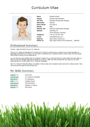 Ceo Resume Sample Doc by Free Cv Templates Grass Short Download Comoto