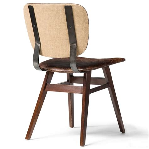 Industrial Leather Dining Chair Drifter Industrial Loft Brown Leather Quilt Oak Dining Chair Pair Kathy Kuo Home