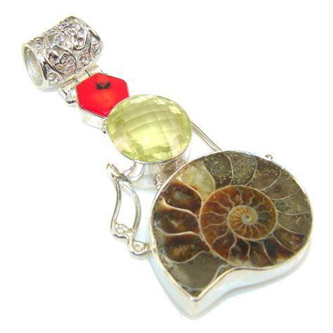 Ammonite Fossil Kode 14 by Excellent Ammonite Fossil Sterling Silver Pendant 34 30g