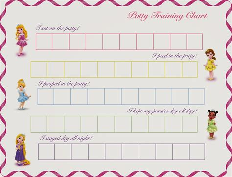 princess potty training reward chart printable girls