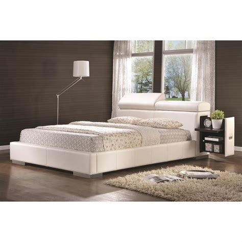 white upholstered queen bed coaster maxine leather upholstered queen bed in white