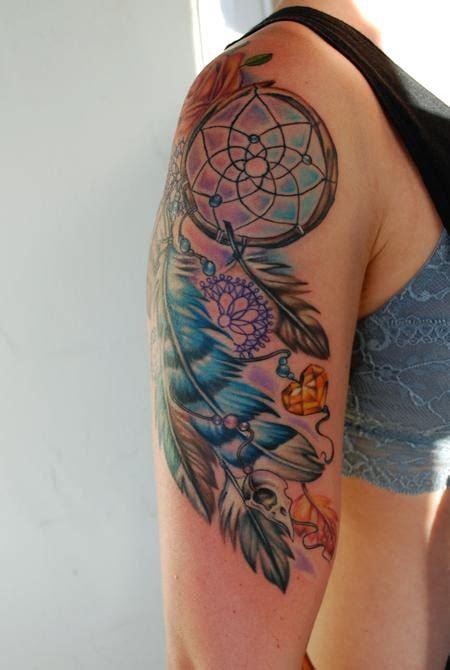 dreamcatcher tattoo half sleeve 32 dreamcatcher tattoos on arm