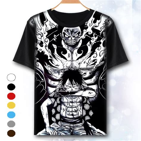 T Shirt Kaos Keren One Luffy 3 xhtwcy one t shirt luffy straw hat japanese anime t shirts o neck black t shirt for