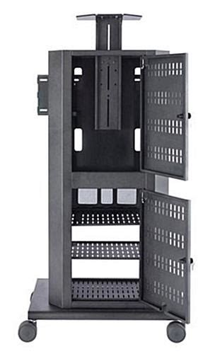 multimedia cart with locking cabinet these multimedia carts for mobile presentations feature