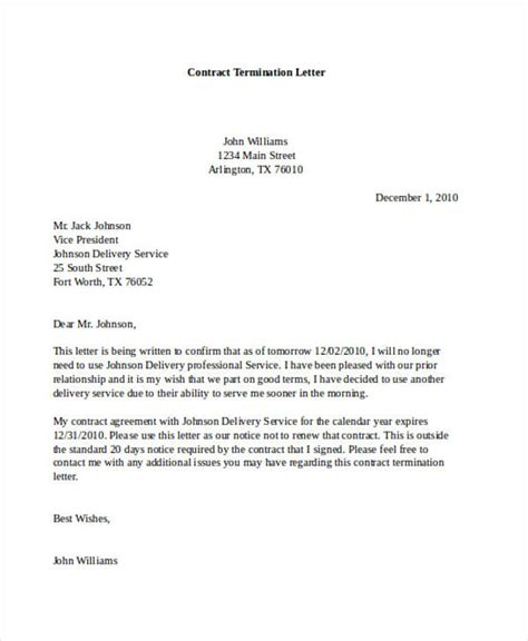 termination letter of service agreement 90 notice of cancellation contract contract