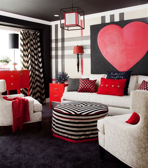 black and red bedroom walls white and red chevron rug design ideas