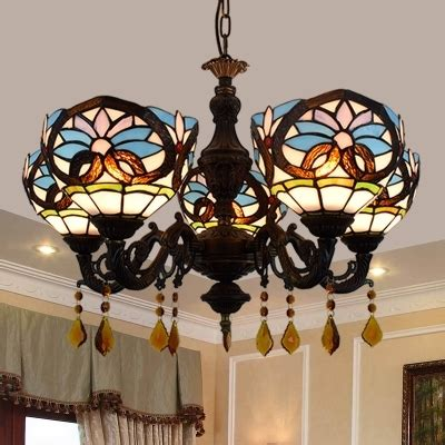 dining room bowl pendant lamp stained glass  lights