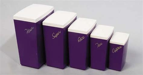 purple kitchen canister sets amazing 1950s vintage purple plastic canisters i have
