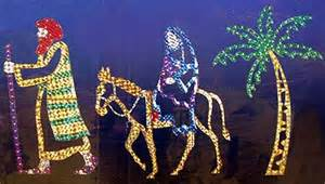 holographic joseph mary and palm tree lighted christmas