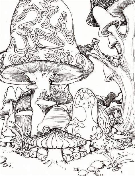free trippy mushroom coloring pages