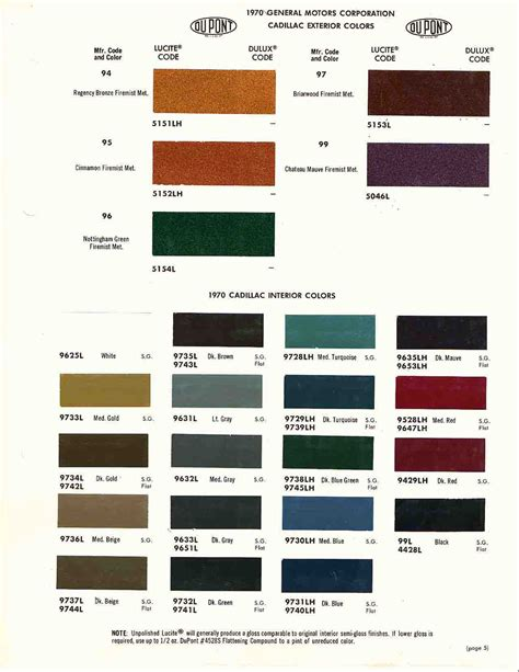 paint names 1970 cadillac deville paint colors