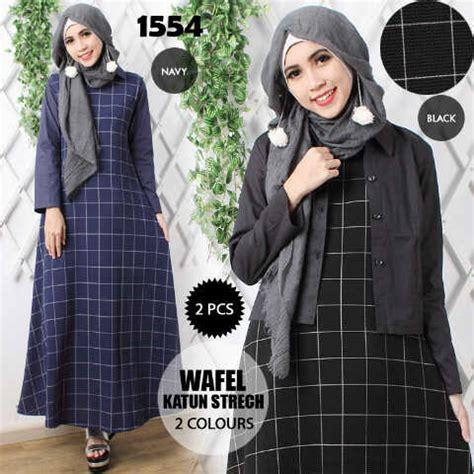 Gamis Abaya Vania Brukat Hitam Kemeja baju gamis remaja modern maxi wafel a182 model busana muslim
