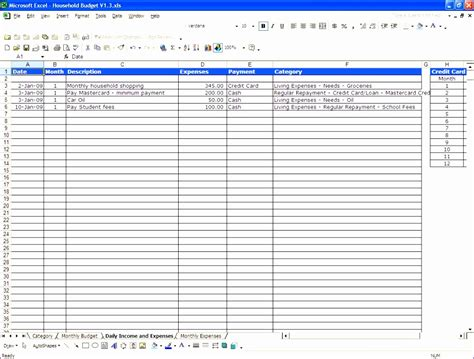 household expenses worksheet 10 excel family budget template exceltemplates