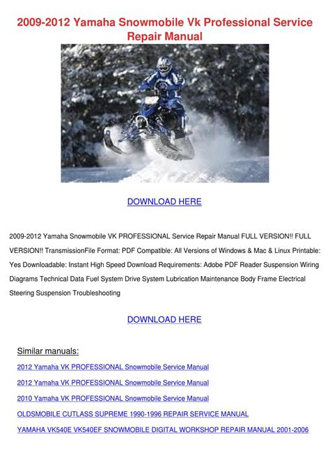 2009 2012 Yamaha Snowmobile Vk Professional S By