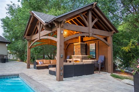 pergola pavillon 3rd gable pavilion w privacy wall fireplace western