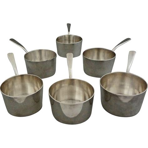 small pots set of six 6 christofle silver plated small sauce pans