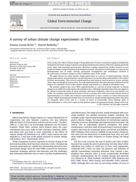 Climate Change Experiment Results by A Survey On Climate Change Experiments In 100 Cities