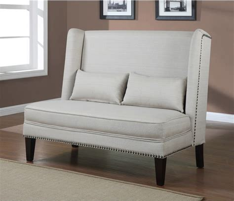 contemporary loveseat wingback natural linen love seat contemporary
