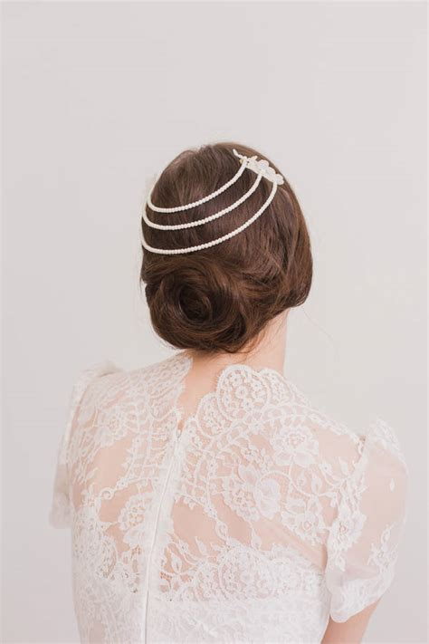 wedding hair comb with chains by britten weddings silk flower combs with pearl chains by britten weddings