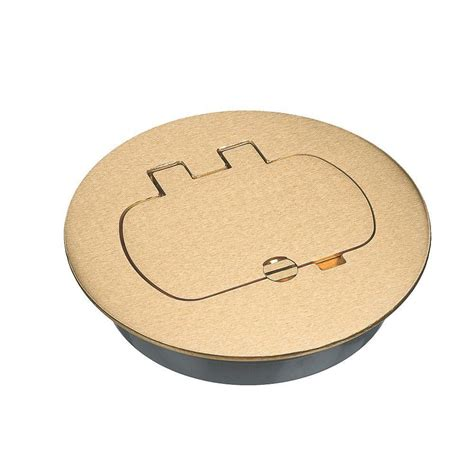 round brass floor box cover kit duplex gfci case of 3 e97brr the home depot