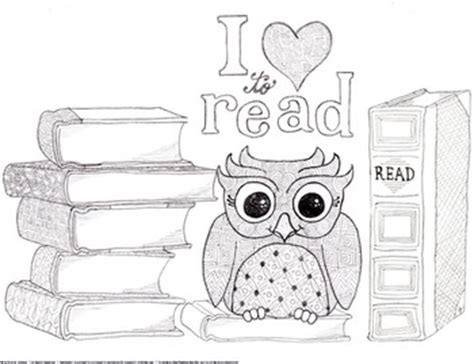 owl reading coloring page quot i love to read quot owl and books coloring page and bookmarks