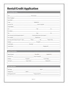 rental credit application forms and instructions