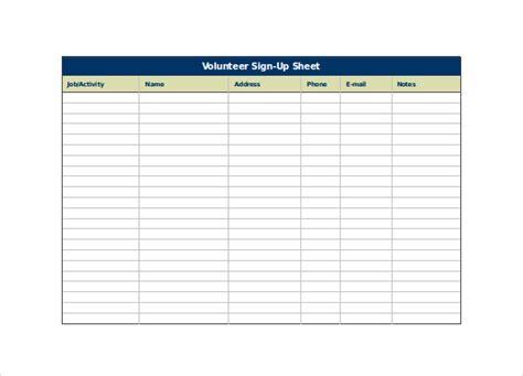volunteer sign up sheet template free spreadsheet templates