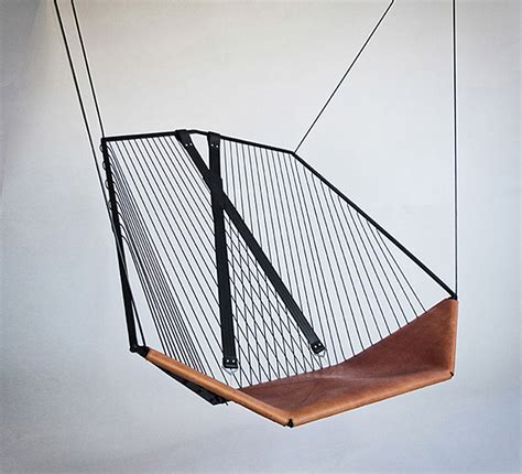 the cello a modern steel and leather hanging chair