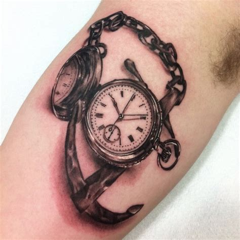 tattoo 3d watch 3d black and grey pocket watch with anchor tattoo design
