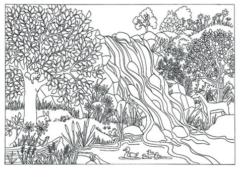 coloring pages for adults nature items similar to printable waterfall nature coloring